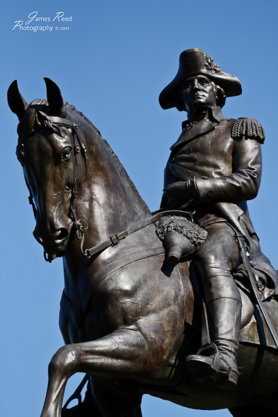General Washington astride his horse.