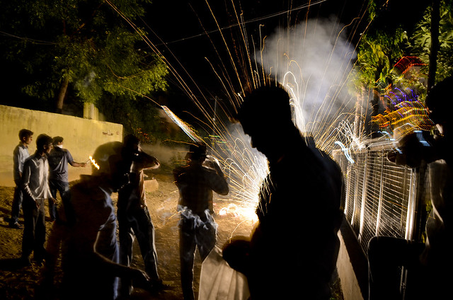 Firecrackers burst