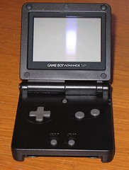Gameboy Advanced SP in its new case - open