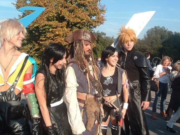 Tidus, Tifa, Jack Sparrow, Yuffie, Cloud cosplay