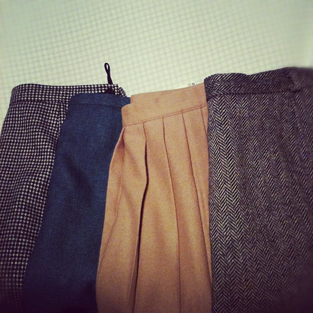 Thrifted this afternoon: four vintage wool skirts. B/W houndstooth, blue and gray herringbone, tan pleated, and B/W herringbone. I can't wait to wear them!