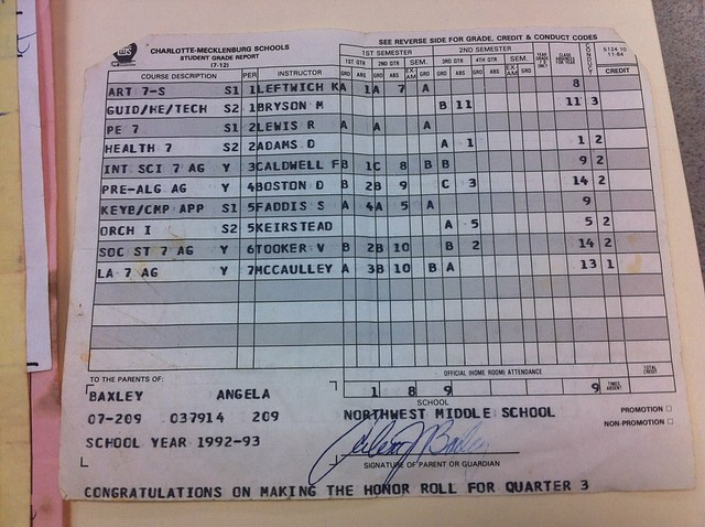 "One of my last ""good"" report cards."