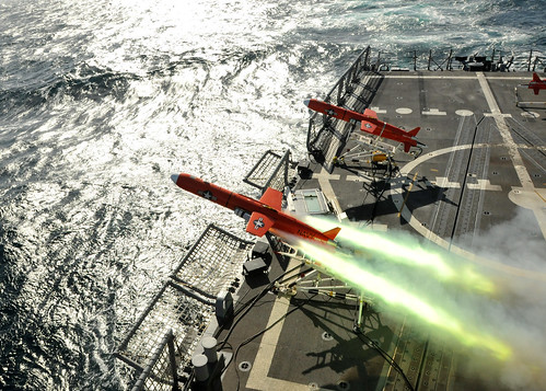 A BQM-74E aerial drone launches from USS Thach