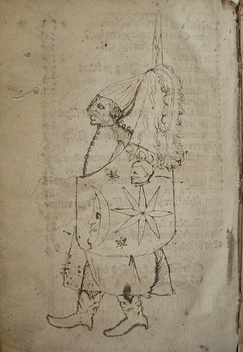Early ms. sketch of a male figure (in military dress, armed with a shield?) by Penn Provenance Project