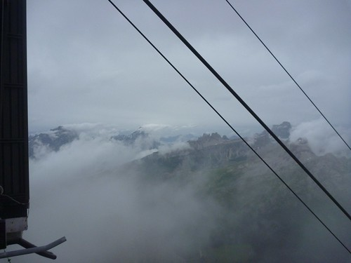 Lagazuoi cable car - Across the mist