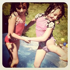 Playing in the kiddy pool #summer finally arrived in #Seattle