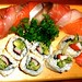 Rainbow Roll (with mackerel) and California Roll