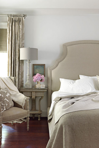 Traditional gray bedroom: Benjamin Moore 'Revere Pewter'