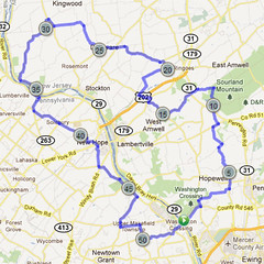 wc-15. Bike Route Map. Washington Crossing State Park.