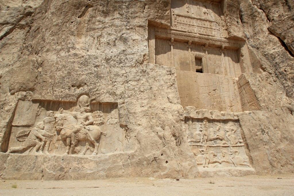Naqsh-e Rostam:  Shapur (on horseback) with Philip the Arab and Emperor Valerian