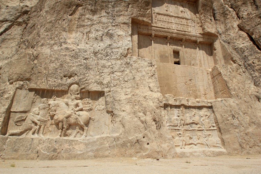 Naqsh-e Rostam:  Shapur (on horseback) with Philip the Arab and Emperor Valerian