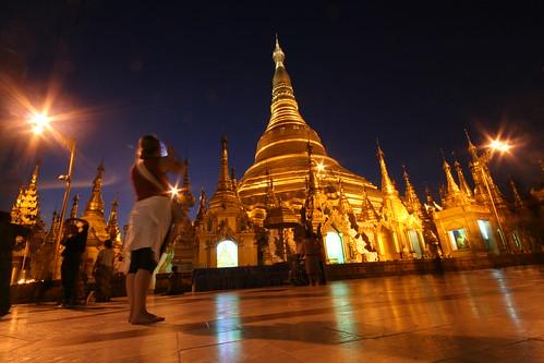 Shwedagon Pagoda, en Rangún, Birmania