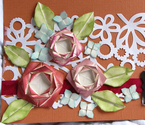 Origami Roses on Scrapbook