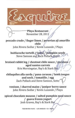 autographed menu