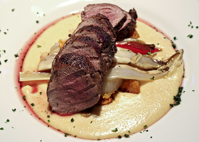 venison with creamy polenta