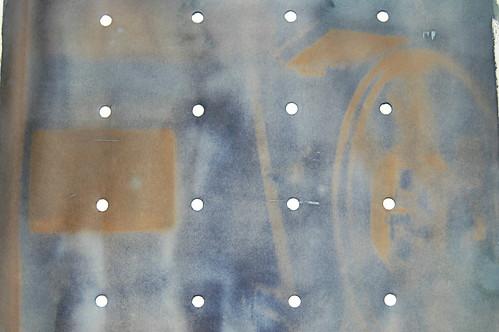 Cine Film, unprocessed cyanotype. by Russell Moreton