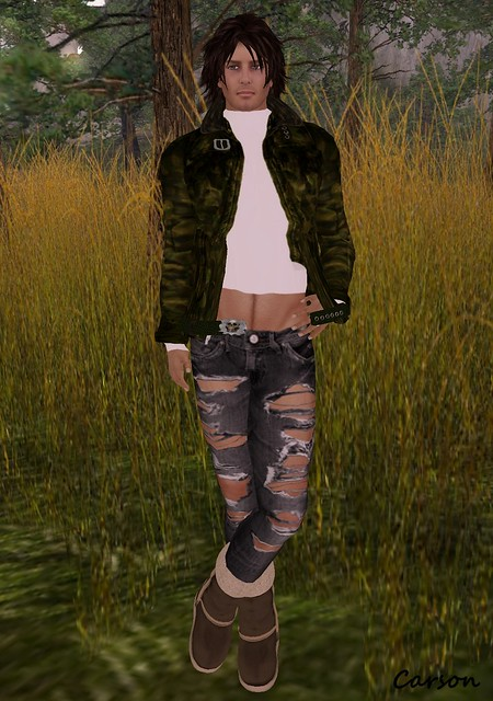 WafflerZ- Camo Jacket, CODED - Black Ripped Jeans, [BedlaM] - Ugg Boots