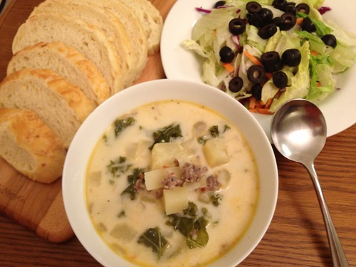 soup, salad, and bread (no sticks)