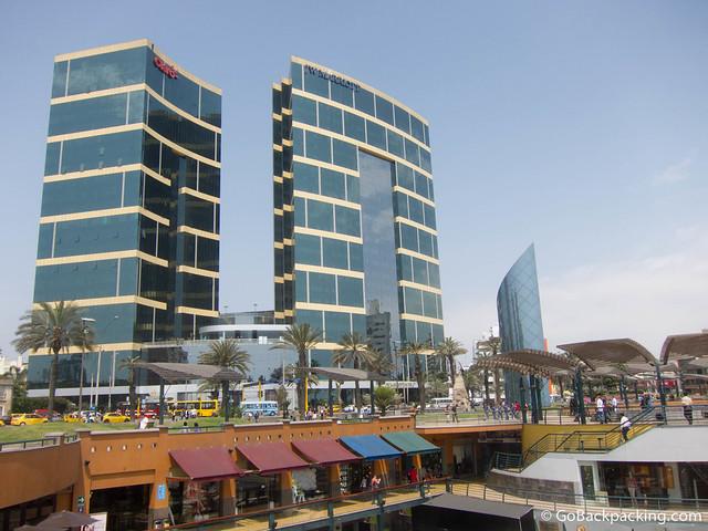 The Larcomar shopping center is built below ground, on an oceanside cliff
