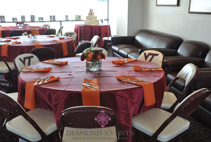 Wedding Reception Tables at Virginia Tech Lane Stadium South End Zone