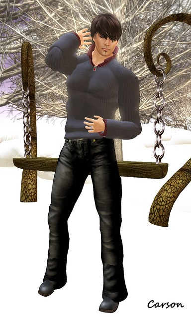 Dark Water Designs - Double Dyed Black Jeans, MENStuff Fall Sweater, Blood Ruby Corded Necklace