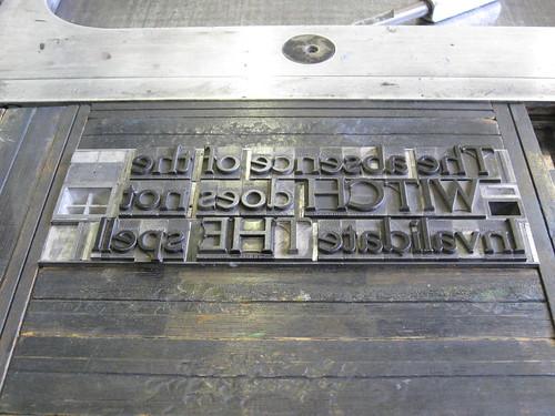 Cheltenham Bold Metal Type, Vanderook Press