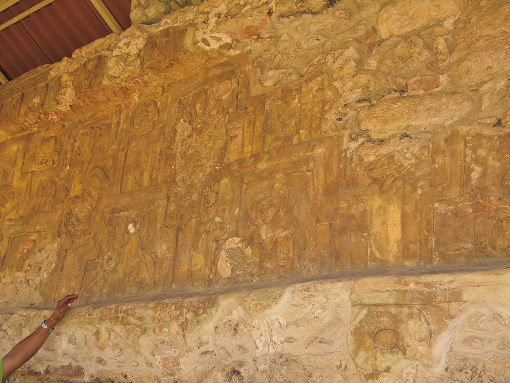 "A stucco in the ""Palace of the Stuccos"" in Acanceh"