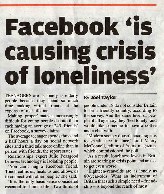 Facebook 'is causing crisis of loneliness'