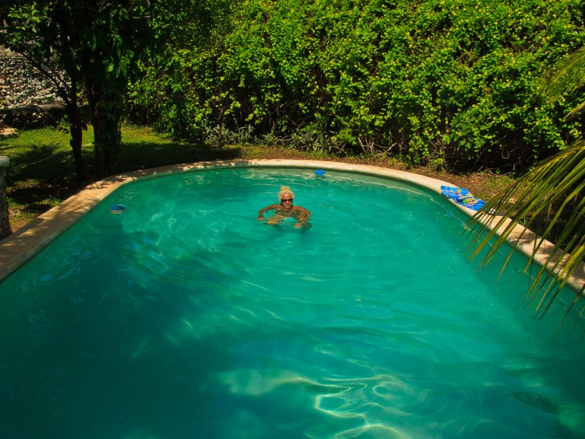 The pool in the garden of our apartment  in Merida