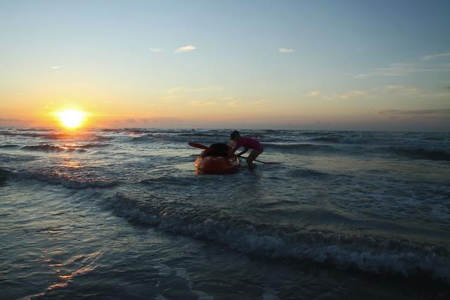 kayak at sunrise