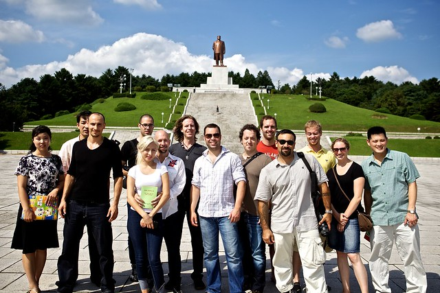Our crew outside the Kim Il Sung statue in Kaesong