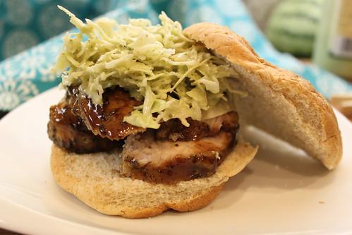 Balsamic Pork Sandwich with Cilantro Cabbage