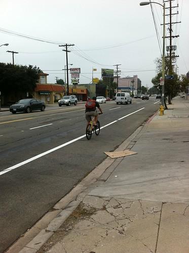 Reseda bike lane bicyclist
