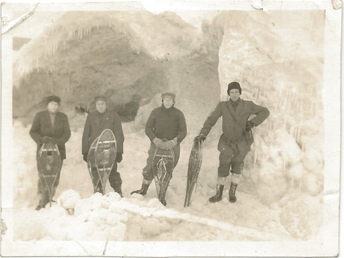Real Photo Men at Work with Snow Shoes Winter Ice and Snow location Unknown 4-1 2 x 3-1 2 size