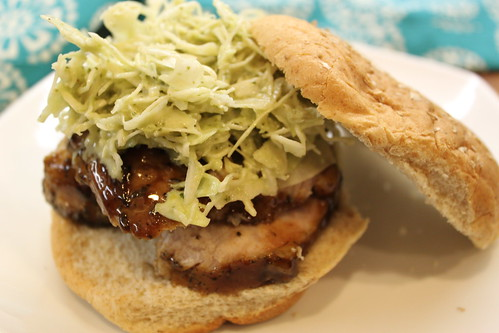 Balsamic Pork Sandwich with Cilantro Cabbage