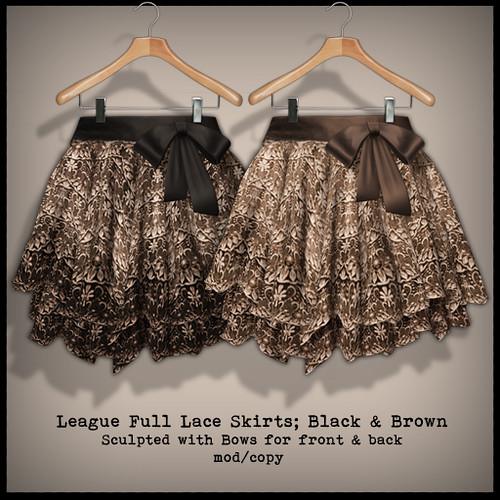 *League* Full Lace Skirts with Ribbons