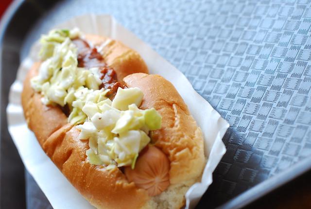 chili slaw dog at trolley dogs