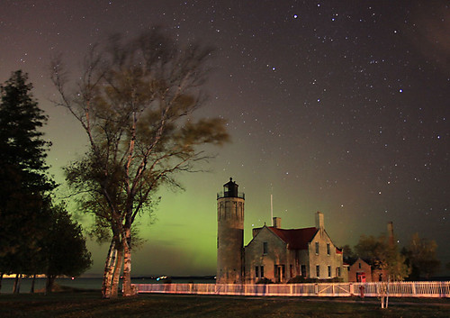 Old Mackinaw Lighthouse under the Northern Lights