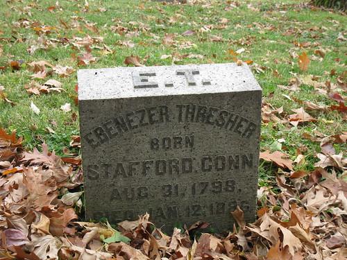 Headstone of Ebenezer Thresher in Woodland Cemetery