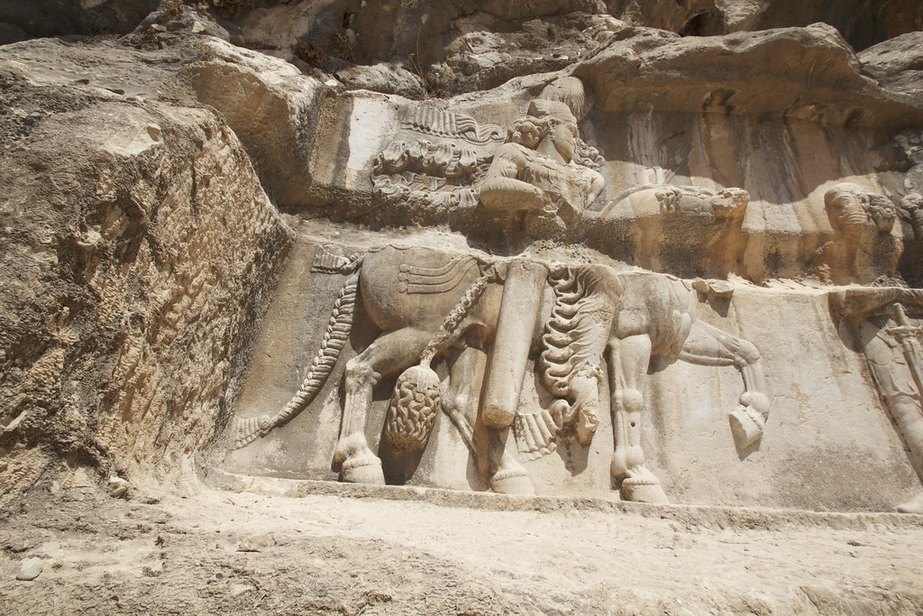 Reliefs at Tang-e Chowgan gorge showing victories of Shapur I over Roman troops
