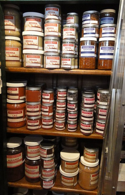 One of the three or four shelves of natural dyes