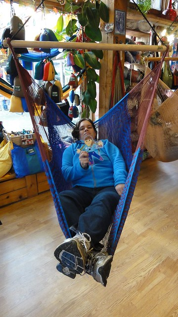 Flat K and I in the hammock store