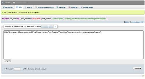 Ejecuntando la instrucción SQL
