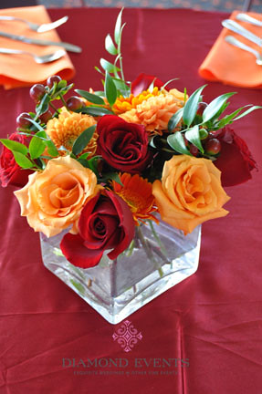 Wedding Centerpiece Orange Maroon Roses Dahlia Berries Dahlias