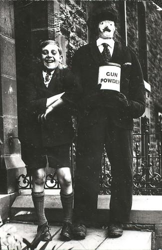 Harry Pilkington with a Guy Fawkes dummy, Punstock Road, Darwen, n.d
