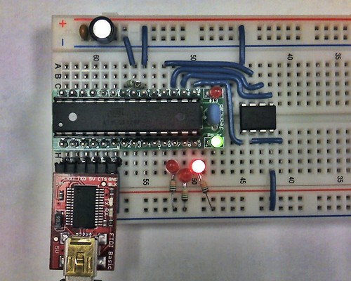 ATtiny programmer with JeonLab mini on breadboard