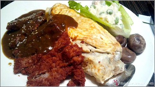 Deep Fried Pork Chop with Omelette Rice and Curry Sauce