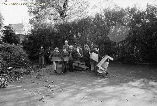 Collecting wood for bonfire, 1974