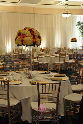 Tall Hydrangea Centerpieces with roses and gerberas