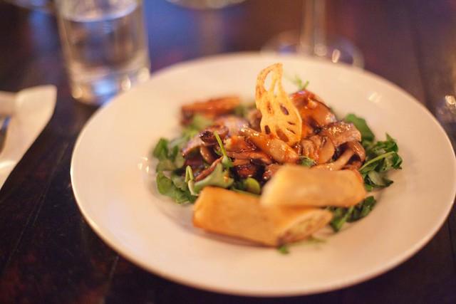Wild mushroom salad + spring rolls w/ spicy chili dressing